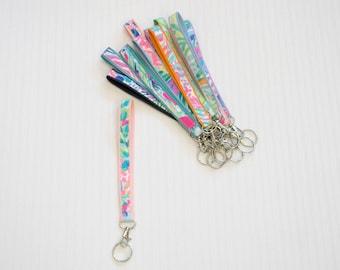 Lilly Pulitzer Fabric Mini Wristlet Lanyard Keychain in Many Prints