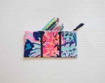 Preppy Patchwork Lilly Pulitzer Fabric Pencil Makeup Case