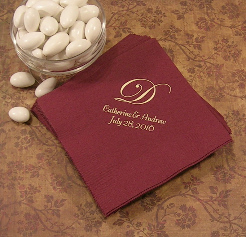 Monogrammed wedding napkins Personalized wedding reception image 0