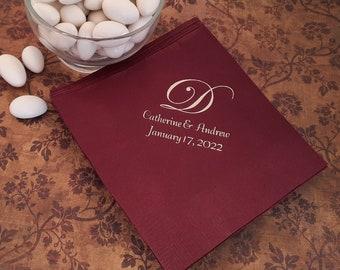 Monogrammed wedding napkins Personalized wedding reception napkins monogram