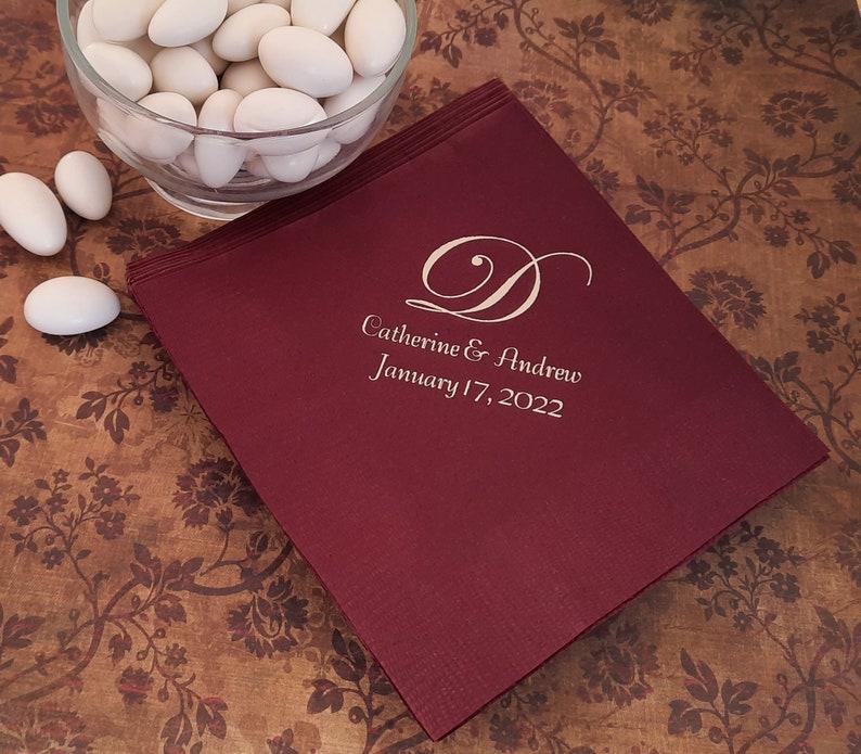 Monogrammed wedding napkins Personalized wedding reception image 0