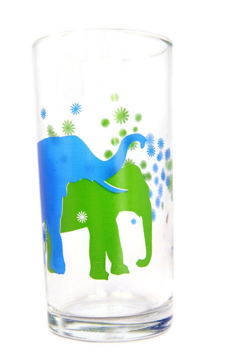 Elephants drinking glass, vintage blue and green elephant glass, retro  kitchen decor, elephant lover gift, small elephant vase