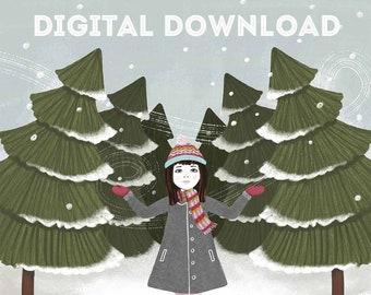 Winter Forest - Holiday Greeting Card - Printable PDF