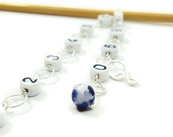 Blue Sodalite - Knitting Row Counter - Snag Free Stitch Counter - Counts 100 Rows - Choose Small, Medium, Large, or XL