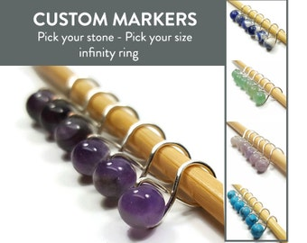 Knitting Stitch Markers - Custom Infinity - Stitch Markers - Stone Beads