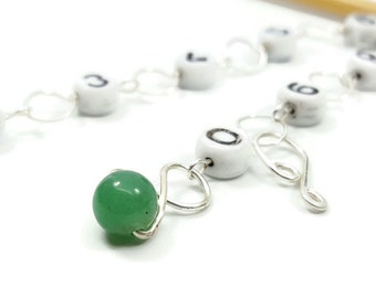 Green Aventurine Knitting Row Counter - Chain Row Counter - Counts up to 100 Rows - Choose Small, Medium, Large, or XL