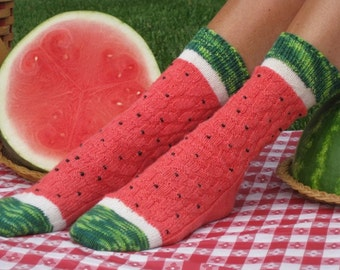 Watermelon Slice Sock Yarn and Pattern Kit (Beads not included)