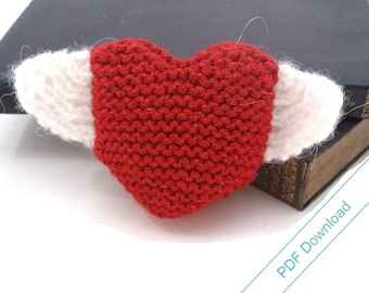 Knitting Pattern PDF. Heart With Wings. Instant Download.
