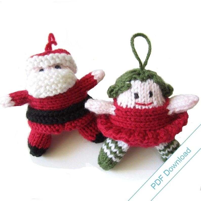 PDF Download Knitting Pattern for Santa and Christmas Fairy. image 0