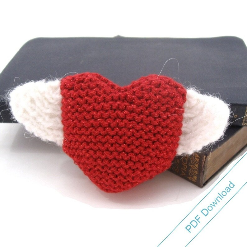 Knitting Pattern PDF. Heart With Wings. Instant Download. image 0