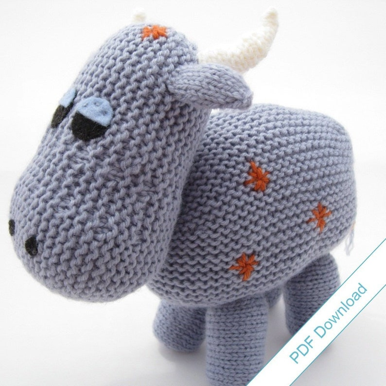 Knitting Pattern PDF Toy Cow. Knit Your Own Herd. image 0