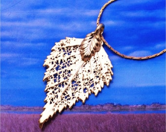 Real Leaf Jewelry, BIRCH leaf, 24K  gold dipped leaves,  necklace pendant by natures leaves