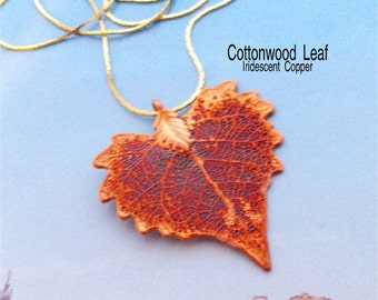 Real Leaves Jewelry, SMALL Cottonwood Leaf Necklace Pendant, Iridescent Copper , Woodsmith Natures Leaves