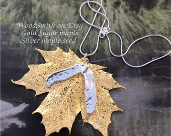 Real Sugar maple leaf with new silver maple seed, Leaves jewelry, pendant necklace by Natures Leaves