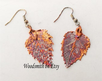 Real Leaf Jewelry,Birch  leaf earrings,iridescent copper, french wires, Natures leaves jewelry