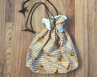 Fun 1950s Chicken and Egg Novelty Print Cotton Drawstring Bag - Rockabilly Style