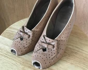 1940's Latte Brown Peep Toe Pumps