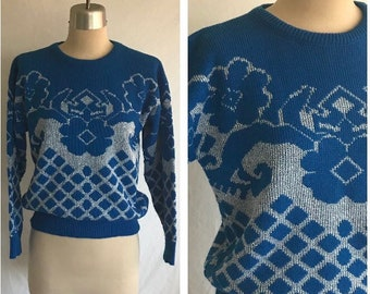 1980s MOD DECO Bright Blue and Metallic Floral Jacquard Pullover Sweater - Biba Style