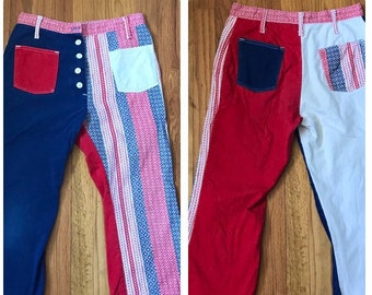 1960s Patchwork Red White and Blue Denim Button Fly Flared Jeans - Hippie Yippie Style