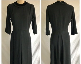 1940s Black Rayon Crepe and Velvet Chic Shawl Collared Little Black Dress