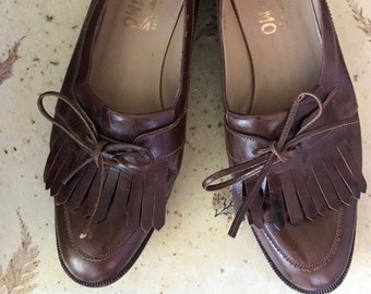 1970s FERRAGAMO Leather Loafers Size 7.5