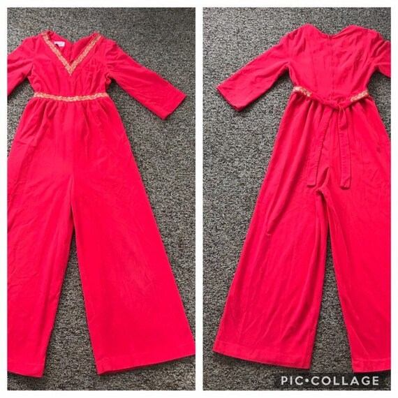 Hot Pink 1960's Velour Wide Leg Jumpsuit Loungewea