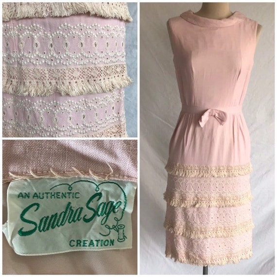 1950s 1960s Soft Pink Linen Eyelet Lace and Fringe