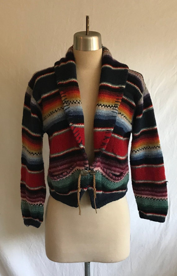 1980s 1990s Southwestern Knit Cropped Wool Cardig… - image 1