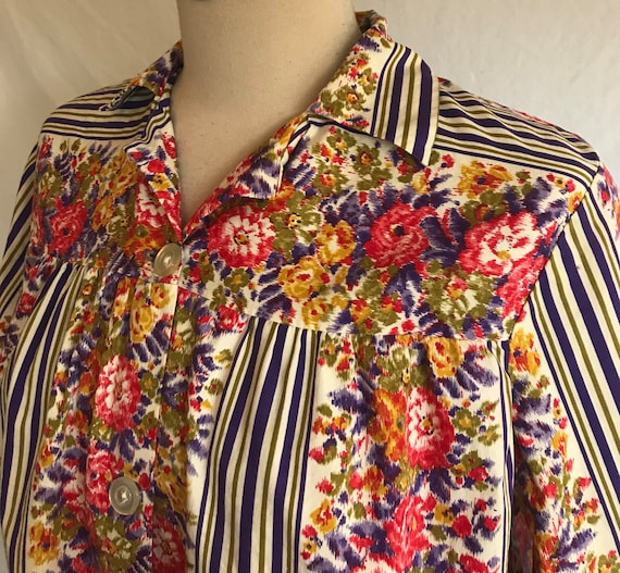1950s Homefront Cotton Striped Cheerful Floral Sm… - image 5