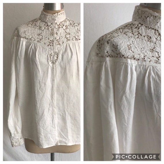 1980s Does Victorian Embroidered Lace White Linen