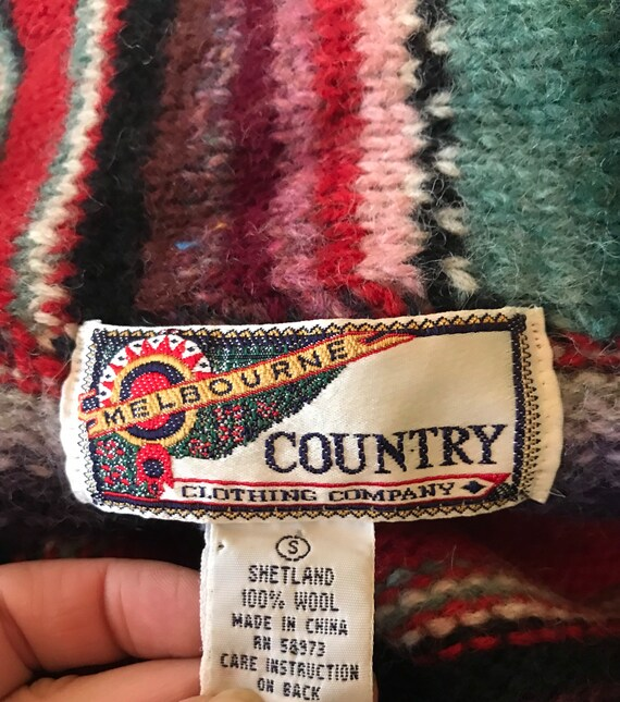 1980s 1990s Southwestern Knit Cropped Wool Cardig… - image 6