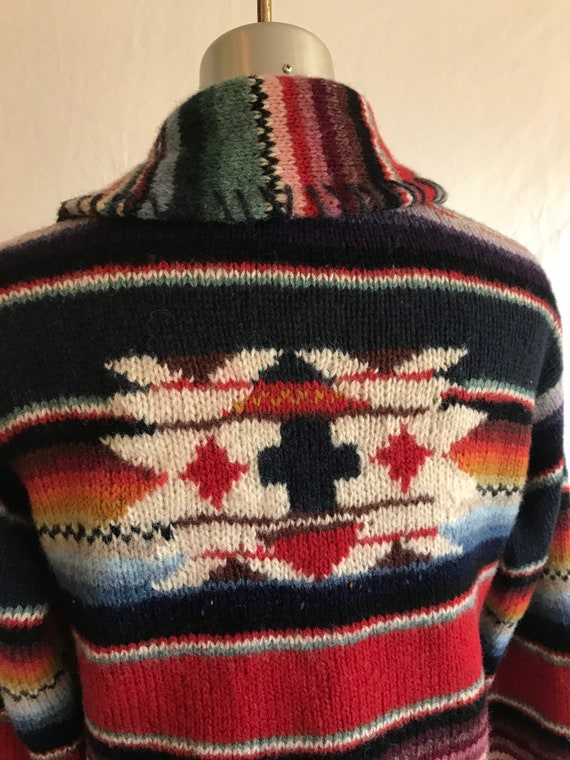 1980s 1990s Southwestern Knit Cropped Wool Cardig… - image 5