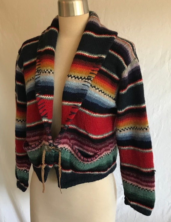 1980s 1990s Southwestern Knit Cropped Wool Cardig… - image 3
