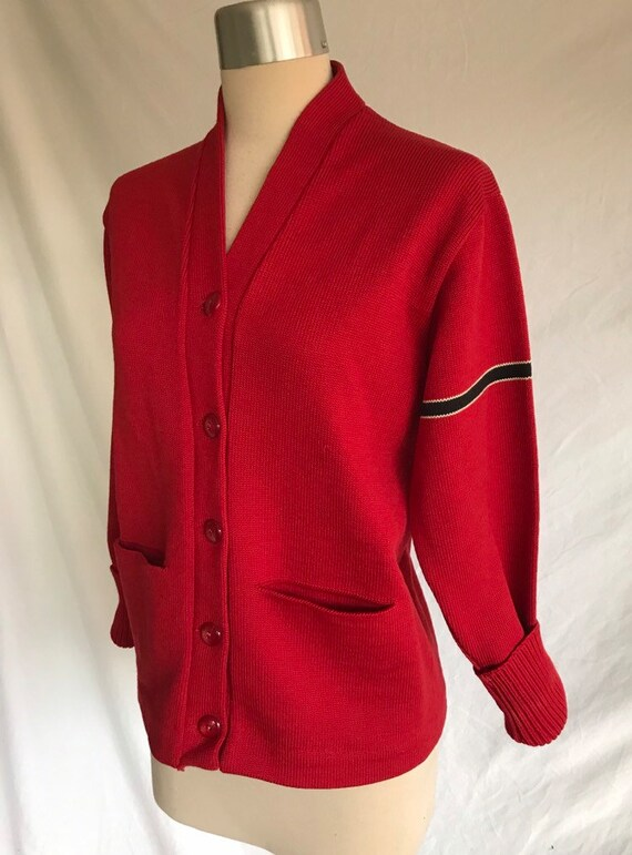 1940s 1950s Rusty Red and Black Stripe Wool Knit Letter Plain Cardigan