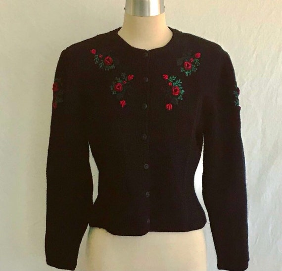 1940s Style Puff Sleeve TYROLEAN Black Wool Embroi