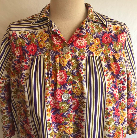 1950s Homefront Cotton Striped Cheerful Floral Sm… - image 4