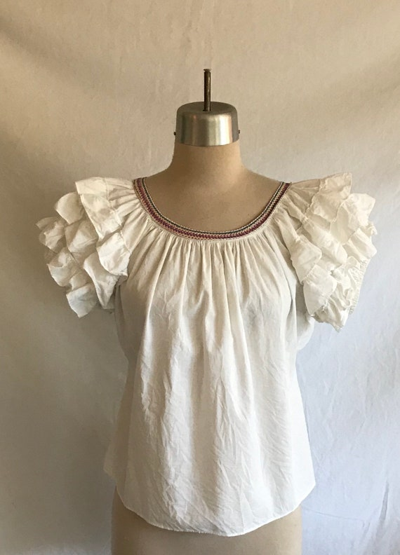1940s Cotton Peasant Puff Sleeve Ruffled Sleeve Bl