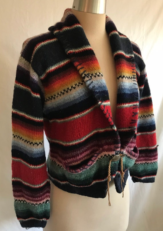 1980s 1990s Southwestern Knit Cropped Wool Cardig… - image 2