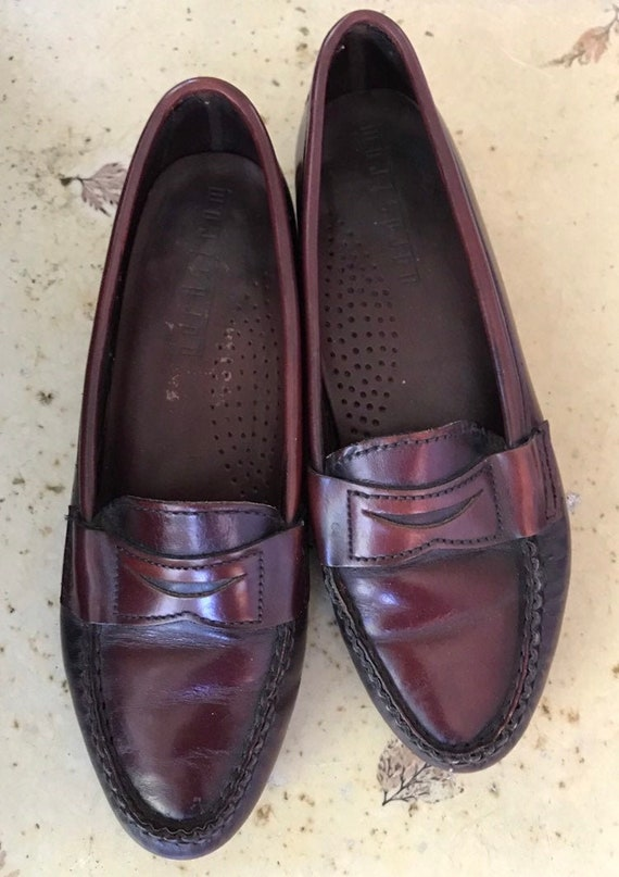1990s Does 1940s Oxblood Red Leather Penny Loafers