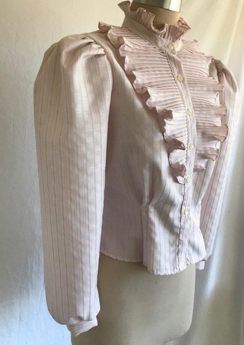 1980s does Edwardian Shirtwaist Ruffled Jabot High Neck Puff Sleeve Pinstriped Blouse