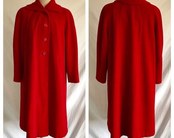 1950s Scarlet Red Soft Wool Dolman Sleeve Coat with Satin Lining