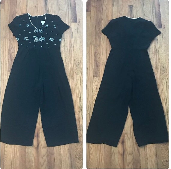 1990s Asian Inspired Wide Leg Jumpsuit 1930's Beac