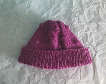 Purple Bobble Beanie Hand Knit Hat