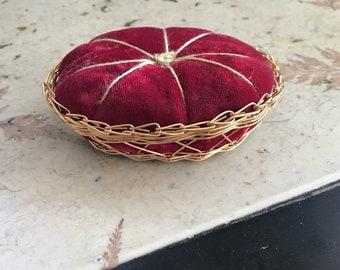 Vintage Red Velvet and Golden Basket Novelty Pin Cushion - Vintage Sewing Notions