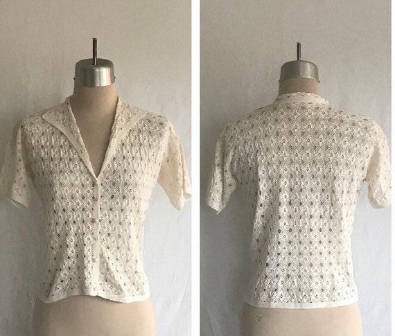 1940s 1950s Sweet Dainty White Cotton Crocheted La