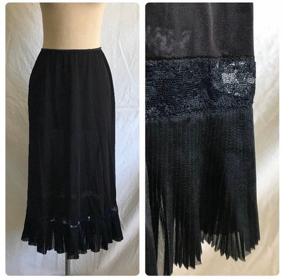 1960s Vanity Fair Black Nylon Lace Pleated Ruffle