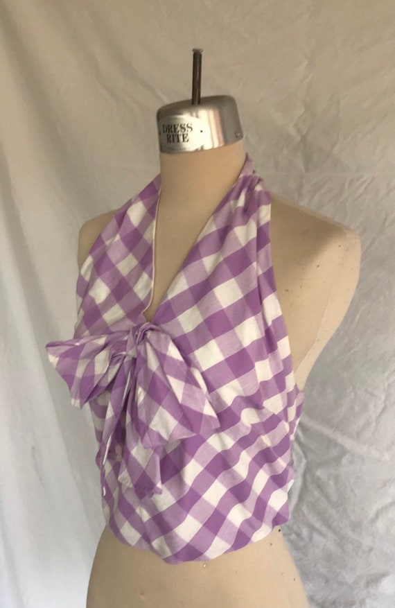 1940/'s Giant Gingham Cotton Repro Halter Top with Bow