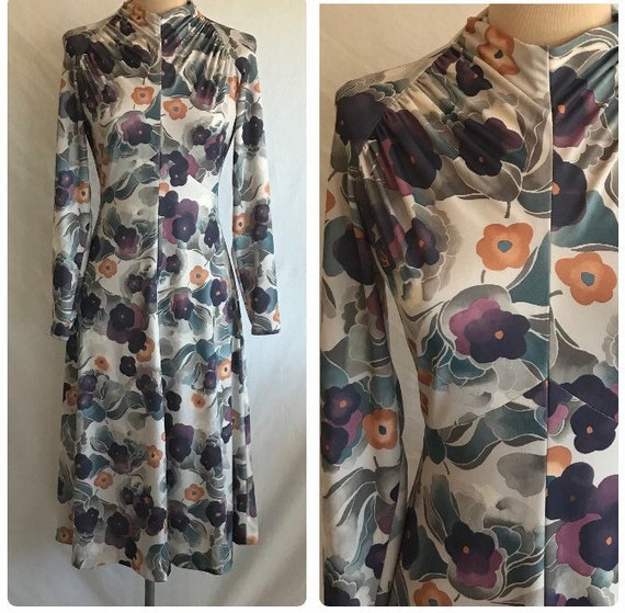1970s Does 1930s Deco Floral Knit Long Sleeve Mock
