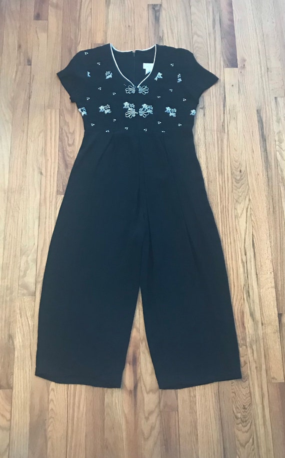 1990s Does 1930s Asian Inspired Rayon Wide Leg Em… - image 2