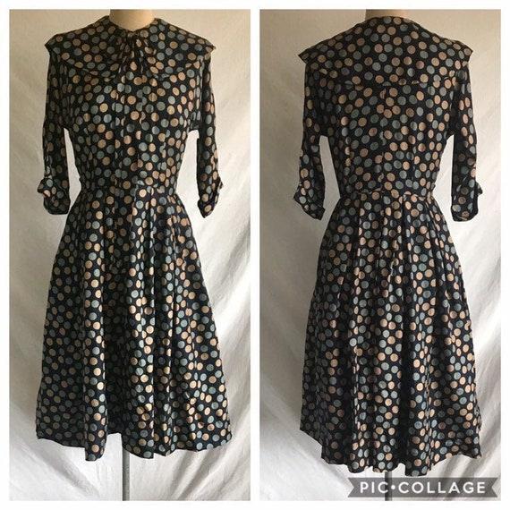 1950s Silk Polka Dot Zip Front Mrs Maisel Style Sh